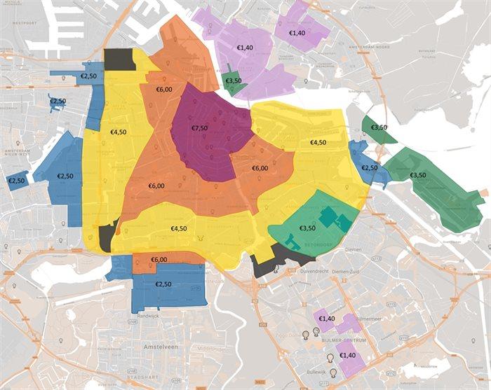 Verhoogde parkeertarieven in Amsterdam