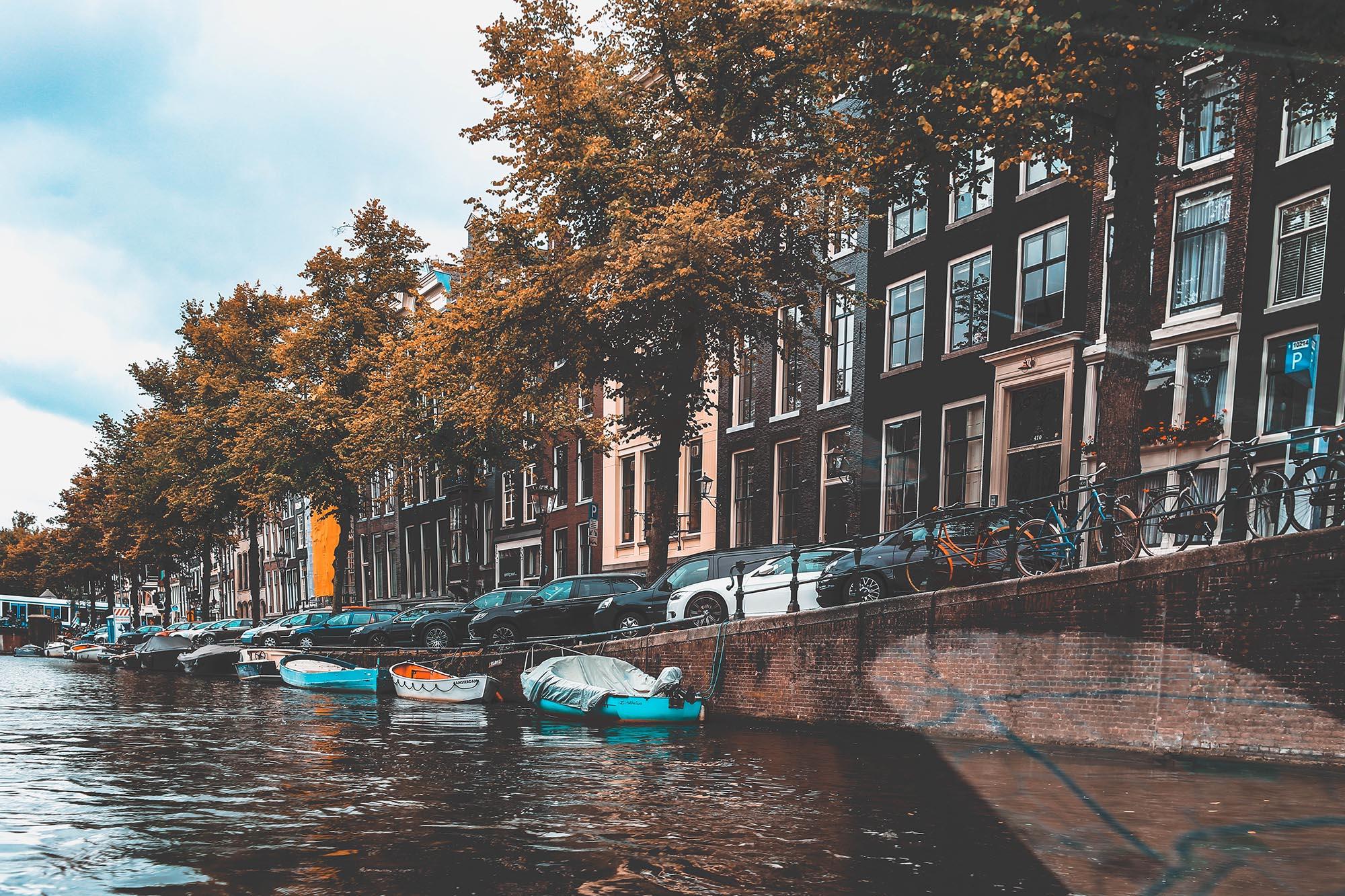 Geparkeerde auto's met een parkeervergunning in Amsterdam