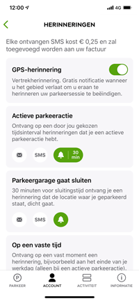 Parkmobile iOS Update Herinneringen